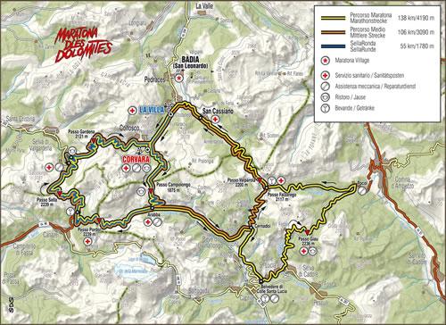 Maratona dles Dolomites - Strecken