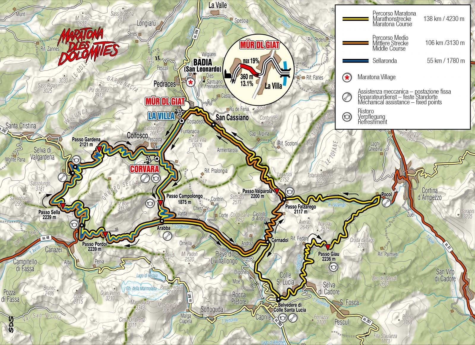 Maratona dles Dolomites  Strecke 2014