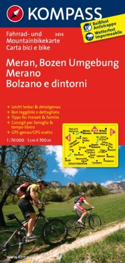 Fahrradkarte und Mauntainbikekarte Meran, Bozen und Umgebung von Kompass