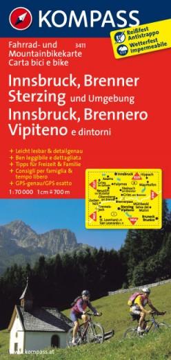 Kompass Fahrradkarte und Mountainbikekarte Innsbruck Brenner Sterzing und Umgebung