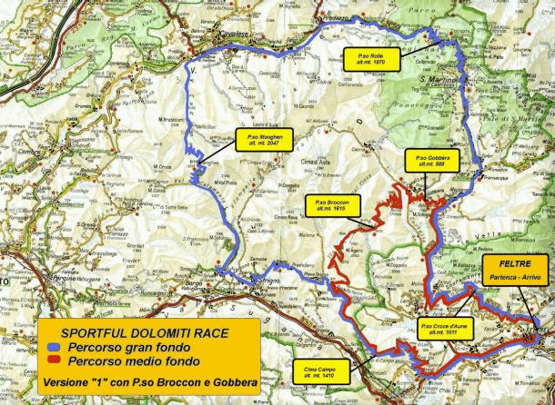 Strecke Sportful Dolomiti Race