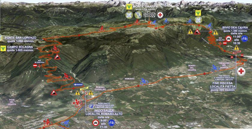 Übersichtskarte Monte Grappa Bike Day 2017