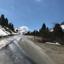 Rennradrunde Sellajoch - Karerpass: Schnee